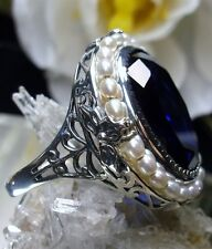 18ct*Blue Sapphire* & Pearl Sterling Silver Victorian Filigree Ring Size Any/MTO