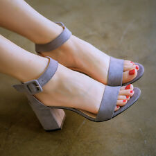 Women Block High Heels Sandals Suede Ankle Strap Buckle Peep Toe Sexy Lady Shoes