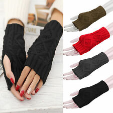 Women Thermal Braided Knitted Gloves Crochet Mittens Long Fingerless Arm Warmer