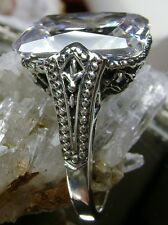 10ct  White Gem Sterling Silver Gothic/Renaissance Filigree Ring Size Any/MTO