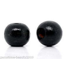 Wholesale HOT! Black Dyed Round Wood Spacer Beads 10x9mm