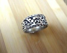 Mens Ring Bali Style Sterling Silver 925 Cable Cigar Band Filigree Heavy New$350