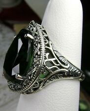 8ct Tear Drop*Green Emerald* Deco Filigree Sterling Silver Ring Size: MTO/Custom
