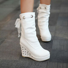 Womens Lace Mid Calf Boots Bowties Wedges Heels Round Toe High Heels Shoes Size