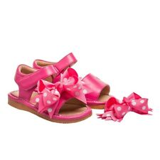 Girl's Squeaky Leather Clip On Hot Pink Toddler Sandals Sizes 1,3,4,5,6 and 7