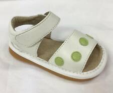 Girl's Leather Toddler Squeaky Sandals White with Green Polka Dots Size 1