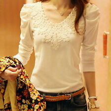 Women Fashion Korean Slim Tops Lace Winter Warm Long Sleeve T Shirt Lady Blouse