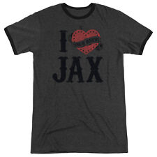 Sons Of Anarchy I Heart Jax Mens Adult Heather Ringer Shirt Charcoal