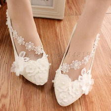 Women Wedding Bridal Shoes lace pearl white Bridal flats high heels size 5-10