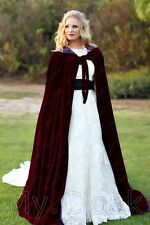 Burgundy Velvet Cloak Lined Purple Wedding Cape Wicca LOTR Gandalf Star Wars