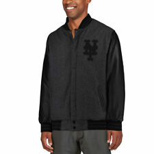 JH Designs New York Mets Heathered Charcoal MLB Reversible Wool Jacket