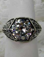 3ct White Gemstone Solid Sterling Silver Victorian Filigree Ring {Made To Order}