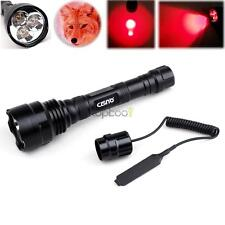Tactical 250 Yard Long Range Red LED Flashlight w/ Remote Switch for Hunting