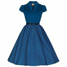 NEW 50'S VINTAGE BLUE POLKA DOT SWEETHEART SWING JIVE DRESS ROCKABILLY