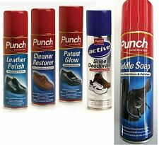 Punch Shoe Care Spray Collection. Cleans, Conditions, Polishes. Label ~ K