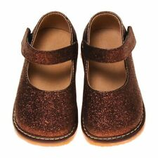 Girl's Leather Toddler Brown Sparkle Mary Jane Squeaky Shoes