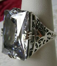 30ct White Gem Solid Sterling Silver Vintage Revival Filigree Ring Size Any/MTO