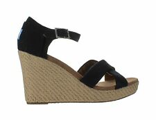 Womens Toms Strappy Wedge Black Canvas 024001B12-BLK