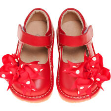 Girl's Toddler Leather Red Mary Jane Clip On Squeaky Shoes Sizes 1 to 7