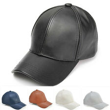 Men's Women's Solid Leather Adjustable Motorcycle Baseball Cap Outdoor Sport Hat