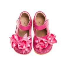 Girl's Toddler Hot Pink Leather Mary Jane Clip On Squeaky Shoes Sizes 1 to 7