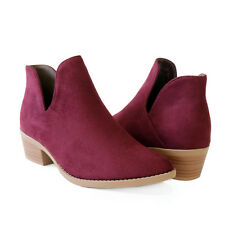 Chic Low Cut Deep Side Cutout Alexia Ankle Booties Boots Almond Toe Stacked Heel