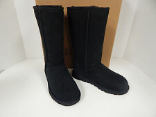 Ugg Australia Classic Tall 5815 Black Suede Leather Lamb Fur Lined Boots-New