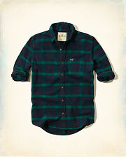 NWT Hollister by Abercrombie Mens Plaid Flannel Shirt Navy/Green 100%Cotton