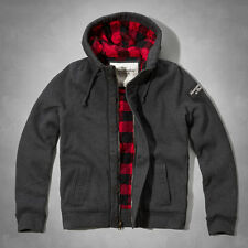 NWT Abercrombie&Fitch Mens Giant Mountain Sweatshirt Jacket Grey Plaid S/M