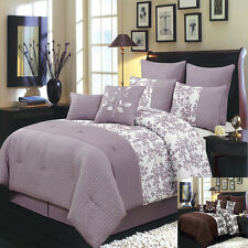 King Size 12PC Bliss Bed in A Bag Includes Bed Skirt and Decorative Pillows