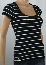 Ralph Lauren Black White Stripe Short Sleeve Knit Top Scoop Neck NWT