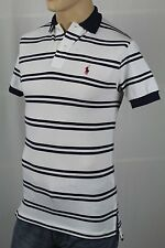 Ralph Lauren White Navy Stripe Mesh Polo Shirt Classic Fit Red Pony NWT