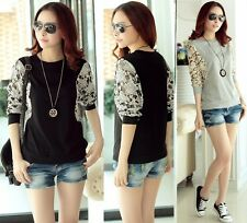 Fashion Women's Ladies Casual Dolman Floral Lace Loose T-Shirt Batwing Tops Tee