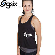 NEW LADIES GSIX GYM WORKOUT BLACK CHARCOAL GREY SINGLET TOP SIZE MEDIUM