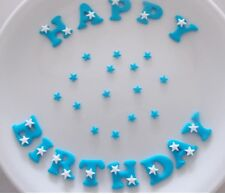 Edible Sugar Icing HAPPY BIRTHDAY  Letters Star Polka Dots Flower Cake Toppers