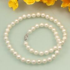 s038 AA 7-8mm  White Black Pink Cultured Fresh Water fashion Pearl Necklace