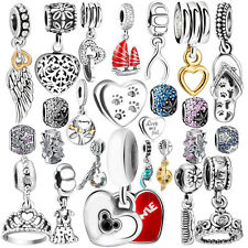 Silver Pendant Dangle Crystal CZ Charms For 925 Sterling PAN Jewelry Bracelet UK