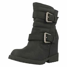 Ladies Spot on Black Ankle Boots With Hidden Wedge - Style F50333