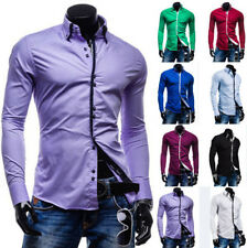 Fashion Mens Luxury Casual Stylish Slim Fit Long Sleeve Casual Dress Shirts Top