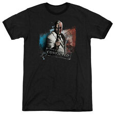 Arkham City Batman Two Face Mens Adult Heather Ringer Shirt Black