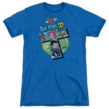 Teen Titans Go T Mens Adult Heather Ringer Shirt Royal