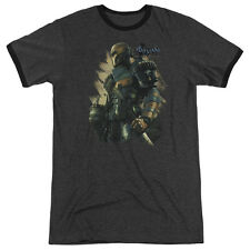 Batman Arkham Origins Deathstroke Mens Adult Heather Ringer Shirt Charcoal