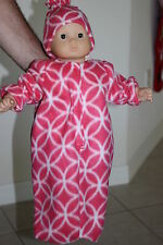 """pink white circles Polar Fleece Doll Bunting hat fits 15"""" Bitty Baby"""