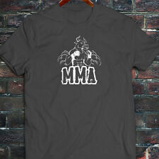 MMA FIGHTING BULL CAGE FIGHT MIXED MARTIAL ARTS Mens Charcoal T-Shirt