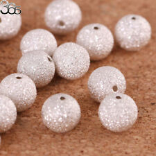 2pcs Wholesale Sterling Silver Round Stardust  DIY Spacer Jewelry Making Beads