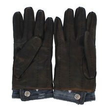 DSQUARED D2 New Gloves Brown Leather denim stretch Made in Italy NWT