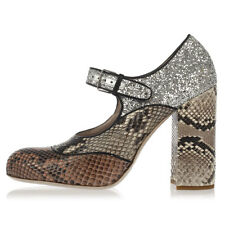 PRADA New Woman Pumps Shoes PYTHON SKIN BICOLOR Sandal Glitter Made in ITALY