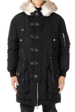 DSQUARED2 Man Black Down Coat with Fur New with Tags and Original