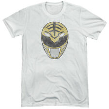 Power Rangers White Ranger Mask Mens Tri-Blend Short Sleeve Shirt WHITE