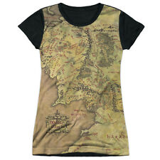Lord of the Rings Middle Earth Map Juniors Sublimation Black Back Shirt WHITE